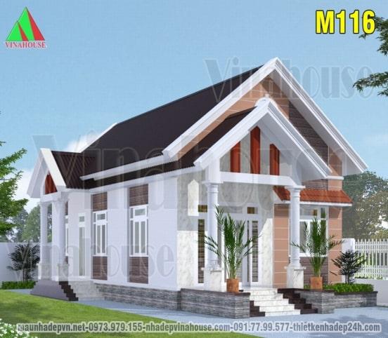 mẫu thiết kế nhà cấp 4 mái thái 2 phòng ngủ