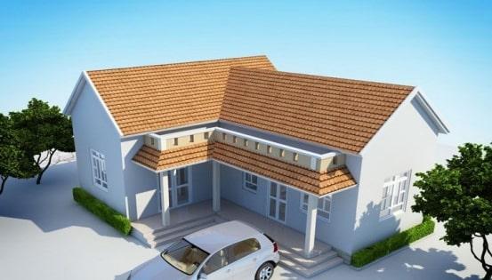 mẫu thiết kế nhà cấp 4 mái thái hình chữ l