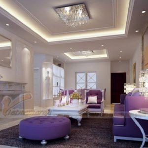 mẫu trần thạch cao phòng khách nhà biệt thự - H1