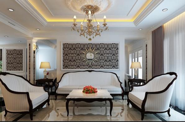 mẫu trần thạch cao phòng khách nhà biệt thự - H2