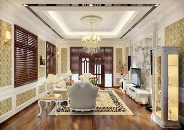 mẫu trần thạch cao phòng khách nhà biệt thự - H3