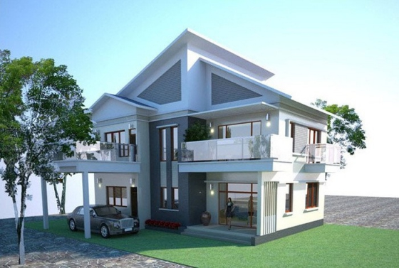 Mẫu nhà đẹp 2 tầng 100m2 - thiết kế 5