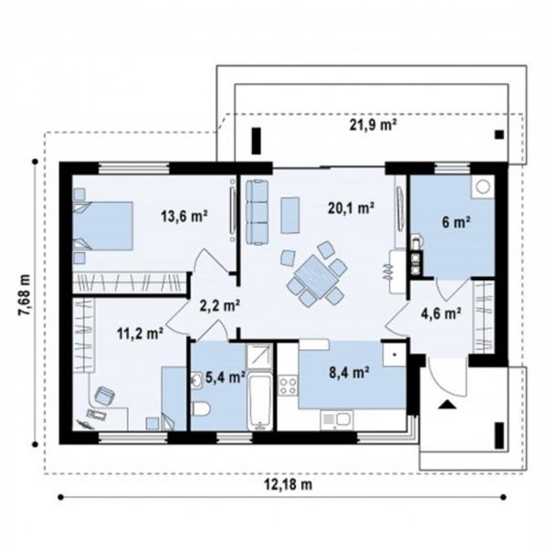 Bản vẽ mặt bằng nhà cấp 4 có 2 phòng ngủ