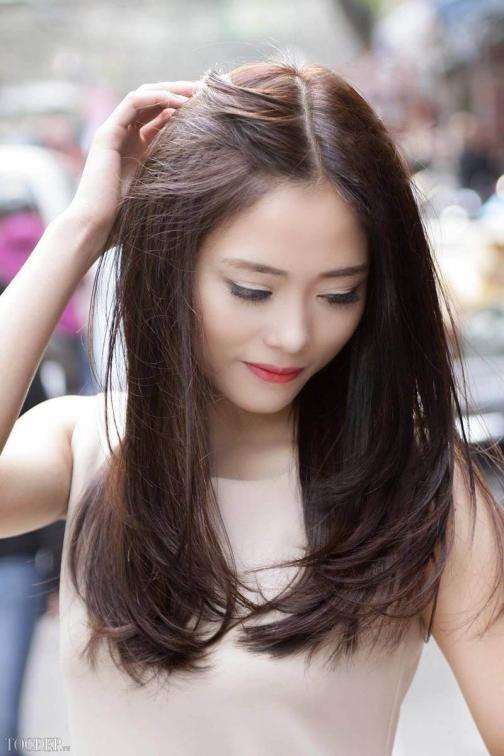 kiểu tóc dài không mái dành cho nữ