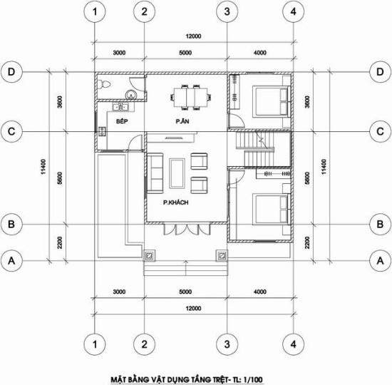 Bản vẽ bố trí mặt bằng tầng trệt biệt thự mini 2 tầng 140m2