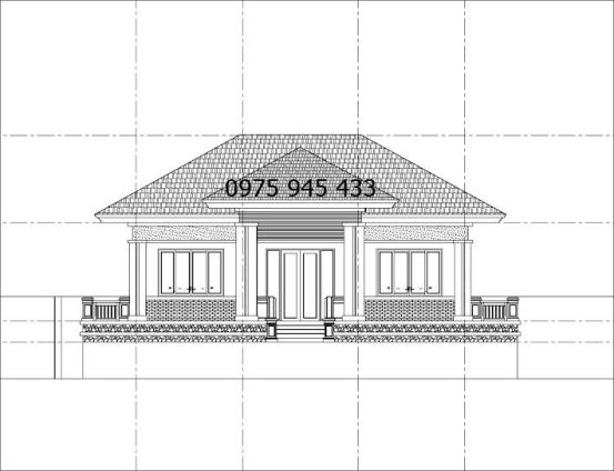 Bản vẽ thiết kế mặt bằng biệt thự mini sân vườn 1 tầng