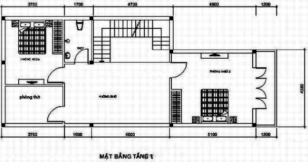 Bản vẽ thiết kế nhà phố 2 tầng diện tích 6,5×16