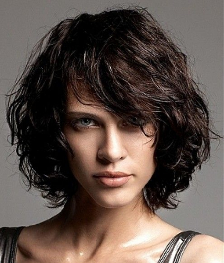 chin length side part curly hair