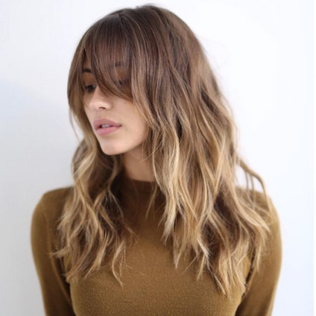 Long Balayage Layers & Bangs For Round Faces Women