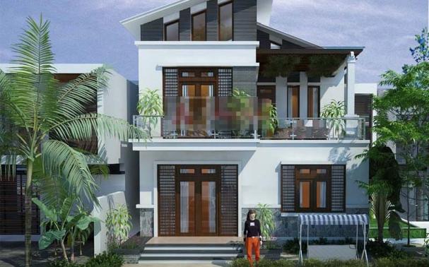 Thiết kế biệt thự 2 tầng mái lệch có diện tích 90m2