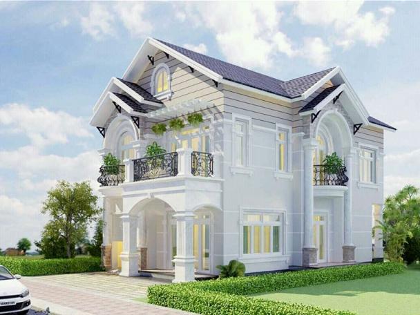 Thiết kế biệt thự 2 tầng mái ngói ngang 6m dài 20m