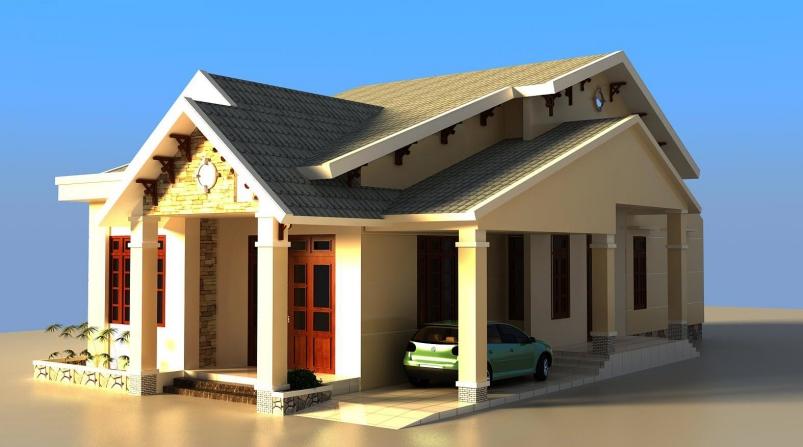 Mẫu nhà 1 tầng đẹp với thiết kế đơn giản