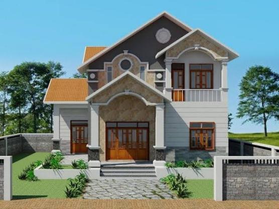 Mặt tiền mẫu biệt thự mini 2 tầng mái thái đẹp phong cách hiện đại
