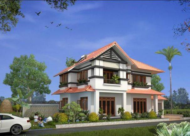 Thiết kế biệt thự 2 tầng kết hợp sân vườn đẹp