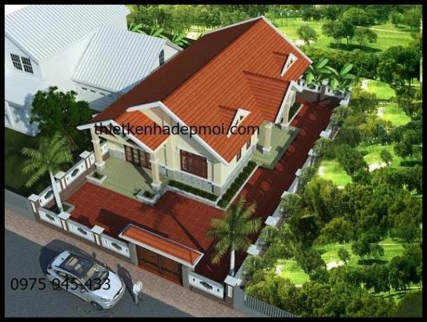 Thiết kế nhà cấp 4 mái thái đẹp ở nông thôn 9x16m