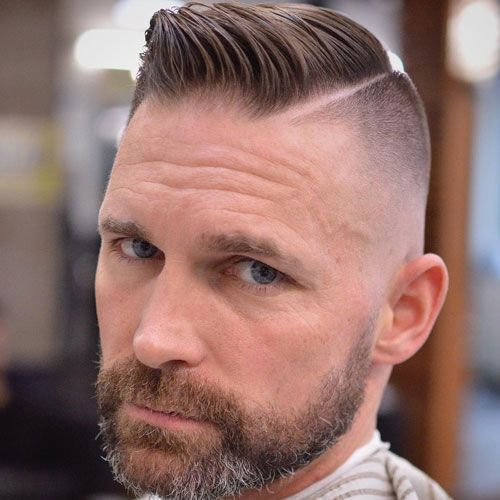 Short comb over fade with side part