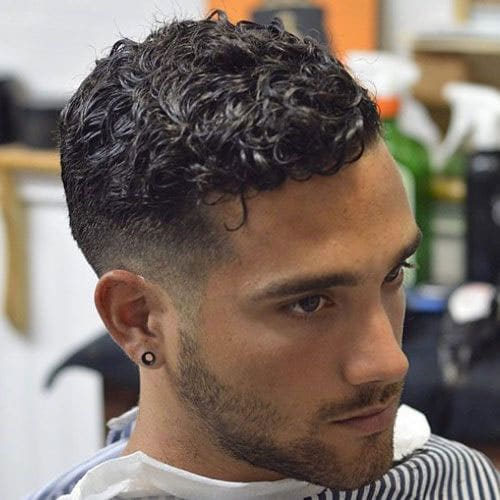 Short curly hair fade haircut