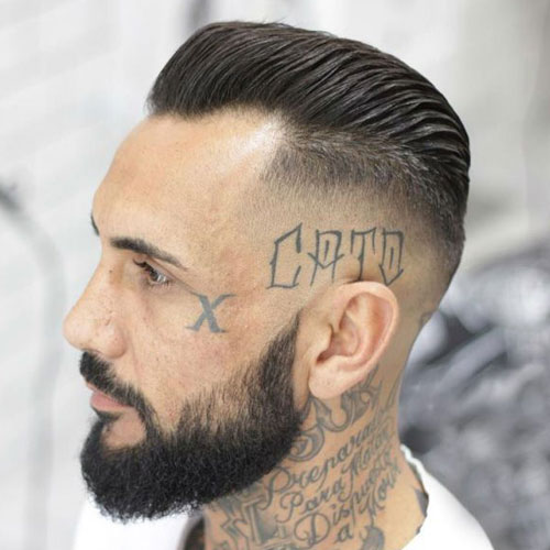 Short slicked back hair mens