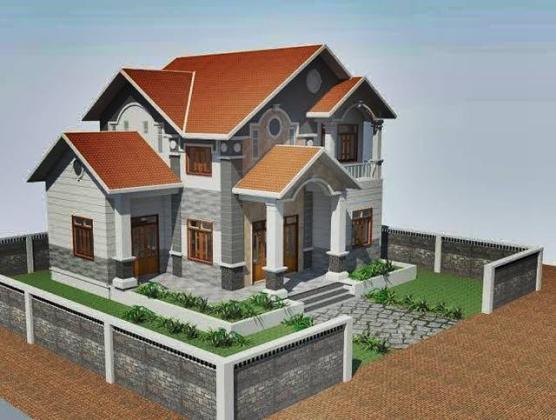 Mẫu biệt thự 2 tầng mái thái mini đẹp 12×11,5m