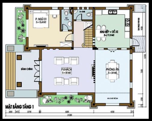 Bản vẽ mặt bằng tầng 2 biệt thự 3 tầng