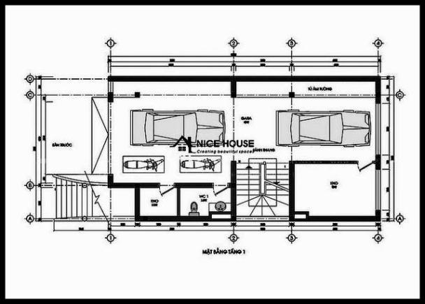 Bản vẽ mặt bằng tầng trệt biệt thự mini 4 tầng