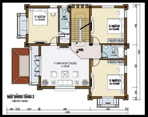 Bản vẽ mẫu biệt thự 3 tầng mặt bằng tầng 3