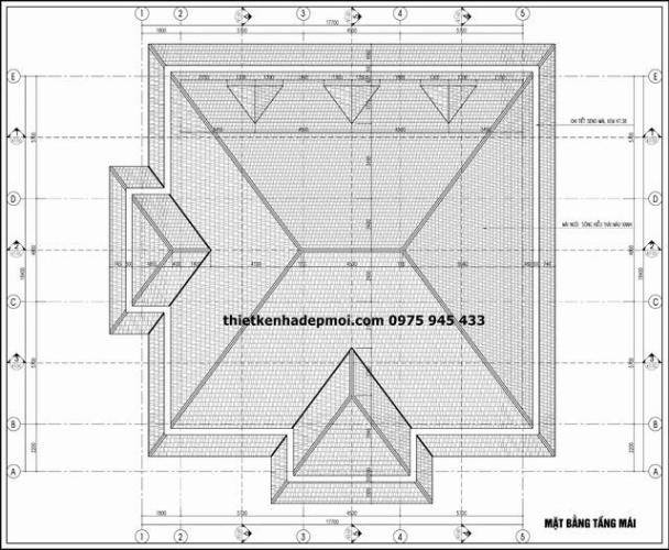 Bản vẽ thiết kế mái đứng biệt thự 2 tầng kiểu pháp