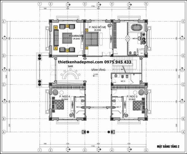 Bản vẽ mặt bằng lầu 2 biệt thự 2 tầng kiểu pháp