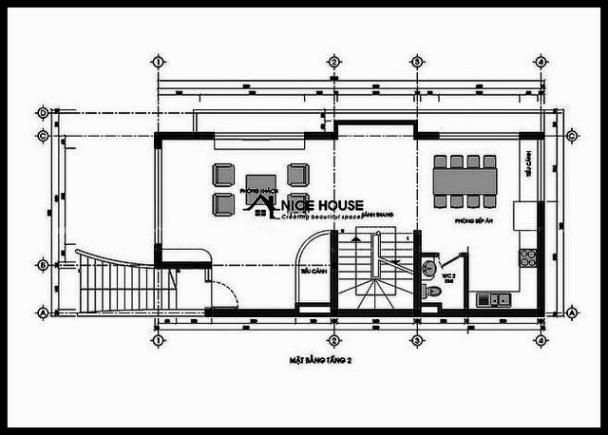 Bản vẽ chi tiết mặt bằng tầng 2 biệt thự 4 tầng