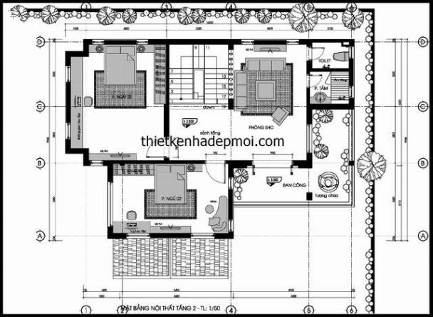 Bản vẽ lầu 1 mẫu biệt thự 2 tầng đẹp