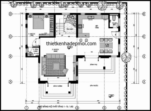 Bản vẽ tầng trệt mẫu biệt thự vườn 2 tầng