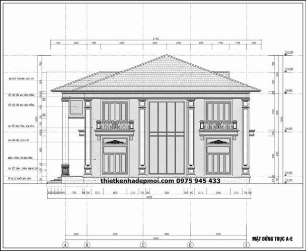 Bản vẽ thiết kế trục đứng biệt thự 2 tầng kiểu pháp