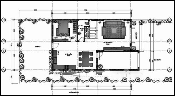 Bản vẽ mặt bằng mẫu biệt thự 2 tầng