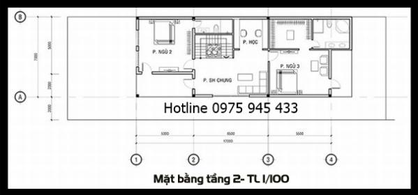 Mặt bằng lầu 1 của thiết kế biệt thự 3 tầng