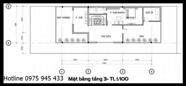 Mặt bằng lầu 3 của thiết kế biệt thự 3 tầng