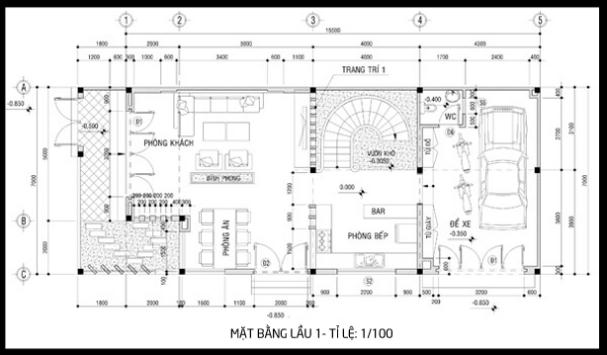 Bản vẽ mặt bằng tầng 1 của mẫu biệt thự 3 tầng 2 mặt tiền