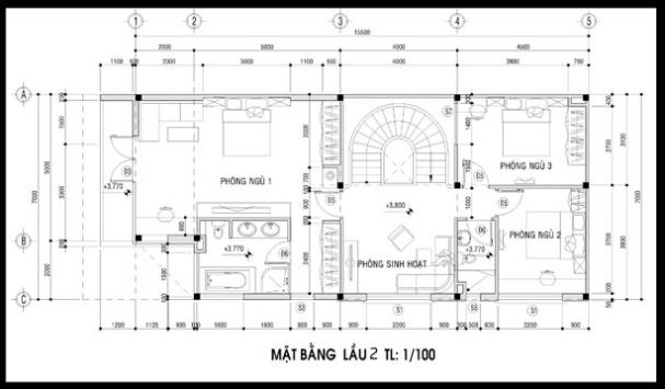 Bản vẽ mặt bằng tầng 2 của mẫu biệt thự 3 tầng 2 mặt tiền