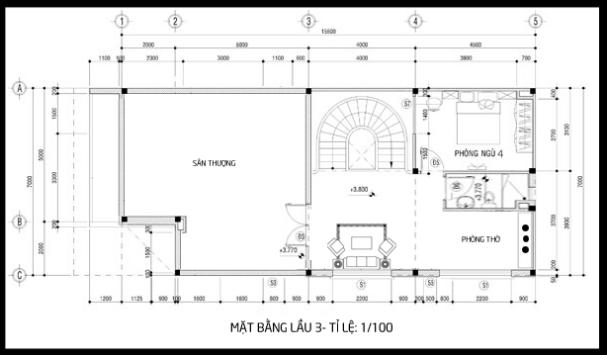 Bản vẽ mặt bằng tầng 3 của mẫu biệt thự 3 tầng 2 mặt tiền
