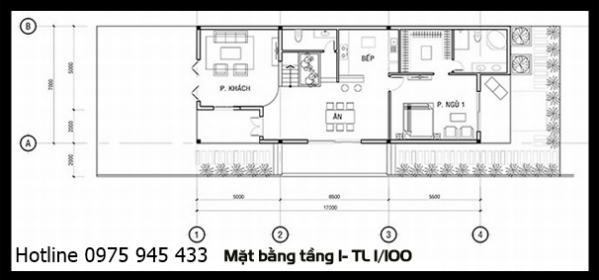 Mặt bằng tầng trệt của thiết kế biệt thự 3 tầng