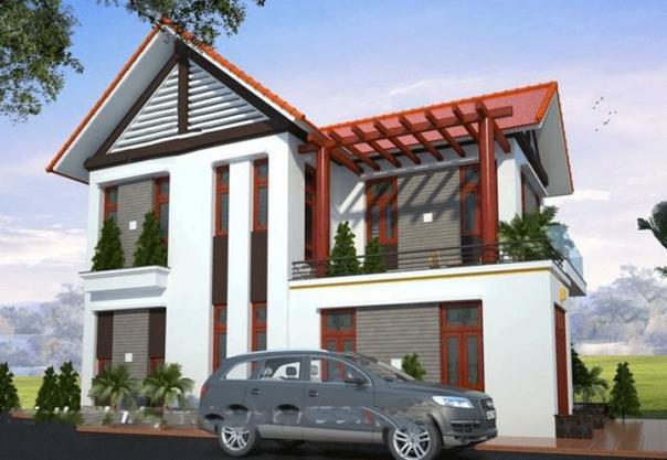 Thiết kế căn biệt thự 2 tầng kiểu mái thái đẹp