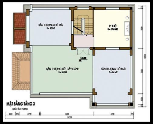 Bản vẽ mặt bằng tầng biệt thự 3 tầng mái thái