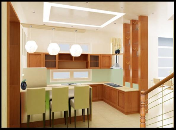 Thiết kế nội thất phòng bếp mẫu biệt thự 3 tầng
