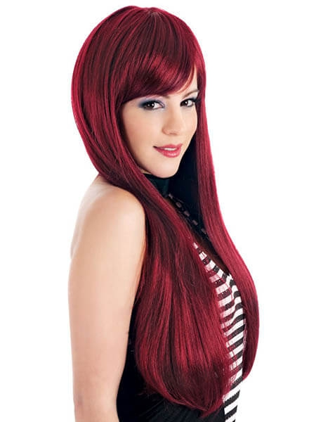 Những kiểu tóc dài màu đỏ tím đẹp số 4