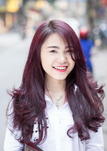Tóc màu đỏ tím nhạt số 1