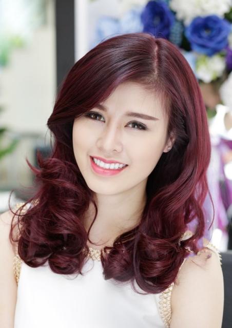 Tổng hợp tóc màu đỏ tím nhạt số 2