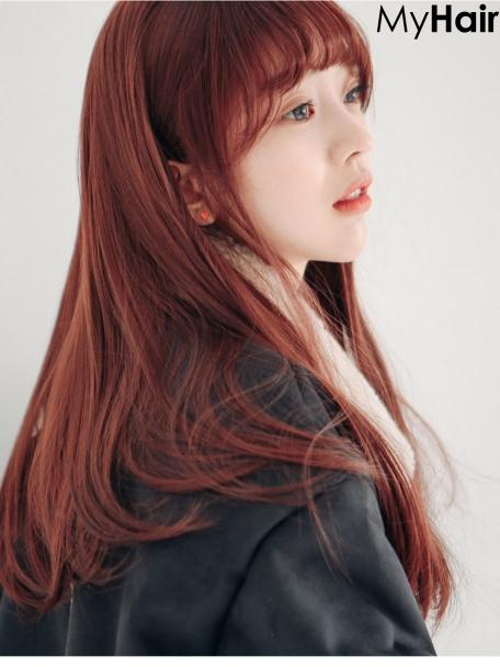 Tóc màu đỏ tím nhạt số 4 phong cách hàn quốc