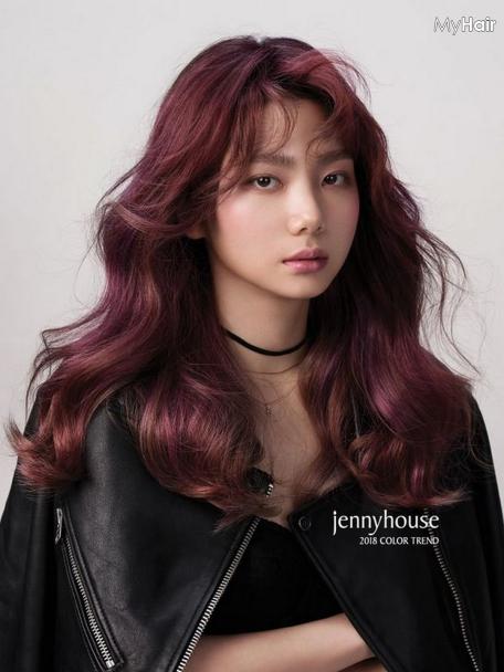 Thời trang tóc màu đỏ tím nhạt số 5