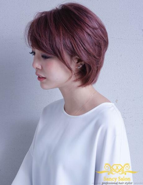 Tóc ngắn màu đỏ tím số 1