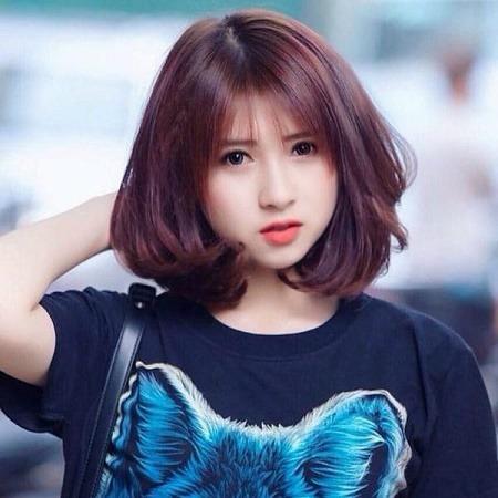 Phong cách tóc ngắn màu đỏ tím số 2