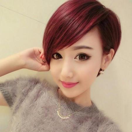 những màu nhuộm tóc tém màu đỏ tím đẹp số 3